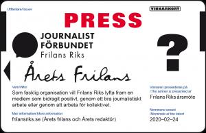 Nominera Årets frilans presskort 2020