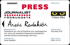 Årets redaktör presskort 2016