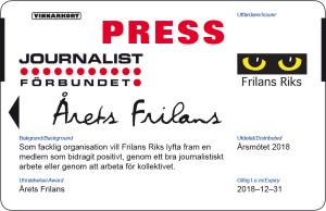 Årets frilans presskort 2018