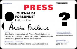 Nominera Årets frilans presskort 2019