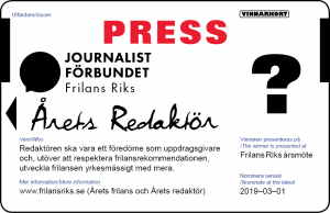 Nominera Årets redaktör presskort 2019