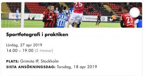 Skärmavbild SJF-kurs sportfotografi