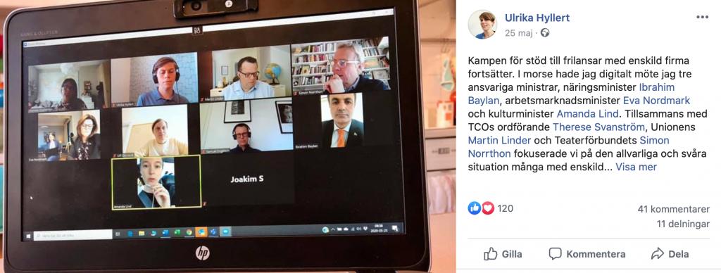 Skärmavbild från Ulrika Hyllerts Facebookinlägg om politikermötet.